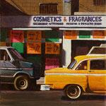 """Rick Buttari, """"Van & Taxi"""", 10"""" x 8"""", oil on mounted canvas"""