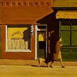 "Rick Buttari, ""Morning Barber Shop"", 8"" X 10"", oil on panel"