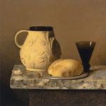 "Carlo Russo, ""Bartmann's Lunch"", 14"" x 14"", oil/linen"