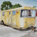 "Robert Waddington, Yellow Spartan Trailer Home, watercolor, 8"" x 10"""