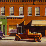"""Rick Buttari, """"Barber Shop with Red Truck"""", 11"""" x 14"""", oil on mounted canvas"""