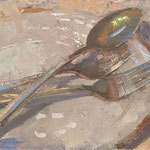 """Charles Newman, """"Two Forks and a Spoon"""", 6"""" x 8"""", oil on linen panel"""