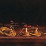 "Renee Foulks, ""Gratitude: Night of Watching"", 6 1/4"" x 21"", oil on museum board"