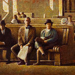 "Rick Buttari, ""Train Station Waiting Room"", 12 3/4"" x 22 3/8"", oil on mounted canvas"