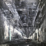 "Gregory Prestegord, ""Under the El"", oil on canvas, 48"" x 48"""