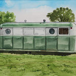 "Robert Waddington, 1949 Palace Royal Trailer Home, watercolor, 8"" x 10"""