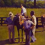 "Rick Buttari, ""Horse Traders II"", 12.5"" x 10"", oil on mounted canvas"