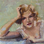 """Charles Newman, """"Vintage Hand Tinted"""", 8"""" x 8"""", oil on panel"""