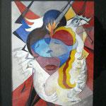 Le coeur rouge , Aquarell / Tempera  ( 25 x 35 )