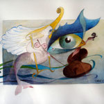 Harfenspiel , Aquarell ( 40 x 30 )