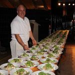 Der vorbereitete Salat hinter den Kulissen