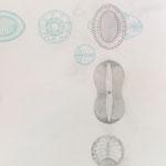 blau | 110 x 80 cm | Graphit, Buntstift auf Papier