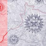 großer solstein | 100 x 140 cm | Digitaldruck, Stickerei auf Gewebe