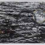 bleiernes meer | 120 x 180 cm | Digitaldruck, Stickerei auf Gewebe