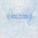 selbstportrait mit hirschkäfer | 100 x 140 cm | Digitaldruck, Stickerei auf Satin