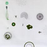 haus im grünen | 130 x 150 cm | 80 x 110 cm | Graphit , Collage auf Bütten