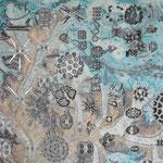 kryokonite | 140 x 100 cm | Digitaldruck, Stickerei auf Satin