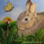 Le lapin et le papillon - Huile sur toile -  - Vendu