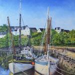 Le port Rhue (Bretagne) - Huile sur toile  - Réservé