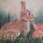 Les lapins - Huile sur toile - 80 euros