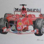 Ferrari - Crayon de couleur sur papier blanc - Vendu