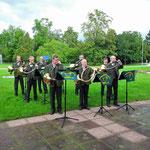 Das Parforcehorncorps Nidda e.V. unter der musik. Leitung von Dieter Götz