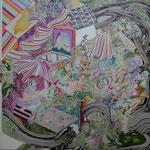 庭園 2015 116.7×116.7㎝ キャンバスに油彩、ボールペン  (C)Rina Mizuno