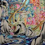 渦巻く花びら 2019年 116.7cm×116.7cm  素材:キャンバスに油彩、ボールペン