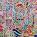 箱庭 2018年 100cm×80cm  素材:キャンバスに油彩、ボールペン