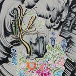 鍾乳洞の入り口 2019年 100cm×80cm  素材:キャンバスに油彩、ボールペン