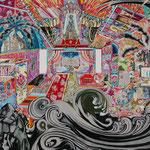 入れ子状に渦巻く 2018年 181.8cm×227.3cm  素材:キャンバスに油彩、ボールペン