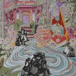 桜閣まで 2015 100.0×80.3㎝ キャンバスに油彩、ボールペン  (C)Rina Mizuno