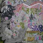 蜃気楼をみわたす 2015 100.0×80.3㎝ キャンバスに油彩、ボールペン  (C)Rina Mizuno