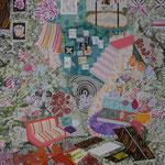 入れ子状の庭 2015 100.0×80.3㎝ キャンバスに油彩、ボールペン  (C)Rina Mizuno