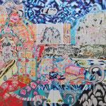 青い宮殿 2019年 194cm×521cm  素材:キャンバスに油彩、ボールペン 高橋コレクション蔵