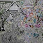 和園 2015 100.0×80.3㎝ キャンバスに油彩、ボールペン  (C)Rina Mizuno