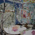 青い室内 2015 100.0×80.3㎝ キャンバスに油彩、ボールペン  (C)Rina Mizuno