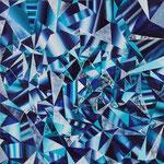 青い反射模様 2018年 53cm×53cm  素材:キャンバスに油彩