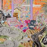 外にない庭 2016年 227.3×181.8cm キャンバスに油彩、ボールペン  (C)Rina Mizuno
