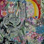 ふりそそぐ滝 2018年 100cm×80cm  素材:キャンバスに油彩、ボールペン