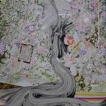 蜃気楼 2015 100.0×80.3㎝ キャンバスに油彩、ボールペン  (C)Rina Mizuno