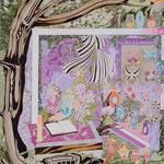 飾り棚 2015 65.2×80.3㎝ キャンバスに油彩、ボールペン  (C)Rina Mizuno