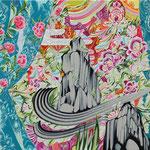 桃柄のカーテン 2019年 53cm×53cm  素材:キャンバスに油彩
