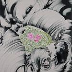 鍾乳洞に埋まる花 2018年 181.8cm×227.3cm  素材:キャンバスに油彩、ボールペン
