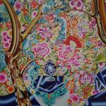 おいしい花 2019年 53cm×53cm  素材:キャンバスに油彩、ボールペン