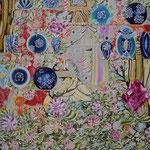 青い花瓶棚 2018年 100cm×80cm  素材:キャンバスに油彩、ボールペン