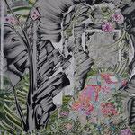 洞窟 2018年 100cm×80cm  素材:キャンバスに油彩、ボールペン