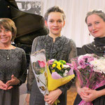 with Irina Stolbova, the Director of Borovichi Museum  (left) and soprano Tatiana Barsukova (Borovichi, 2015). Photo by Victor Gun'kov