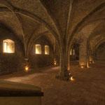 Das »Cellarium«, eine zweischiffige Halle aus dem 13. Jahrhundert, diente als Vorratsraum.