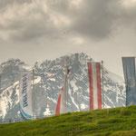 Ein Blick vom Bergisel-Stadion auf die Nordkette